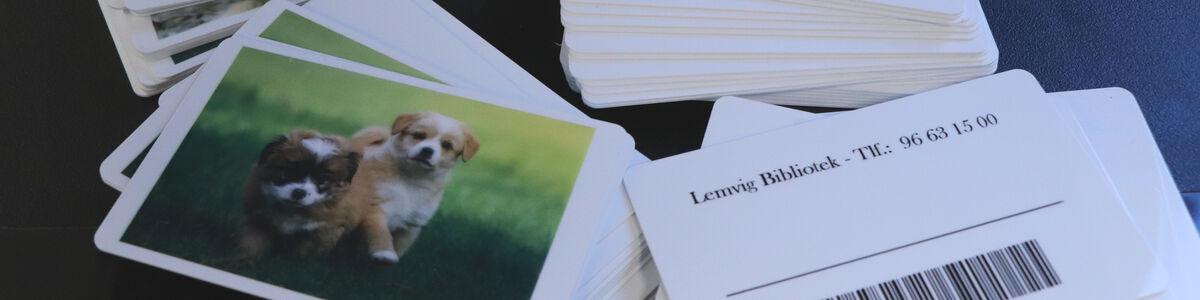 Forside og bagside af lånerkort til børn